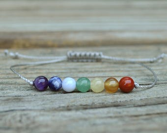 7 Chakra Bracelet, Chakra Stones Bracelet, String Bracelet, Intent Bracelet, Energy Bracelet, Rainbow Bracelet, Balance Bracelet