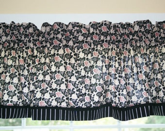 """Red Black Cream Floral Toile  Valance 17"""" x 81""""  Can Alter Curtain Window Treatment"""