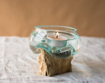 Small Glass Terrarium on Teak Wood Stump