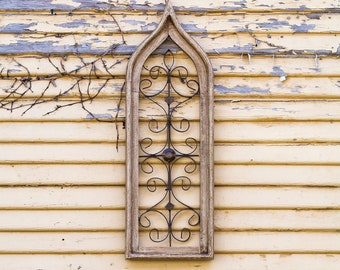 Narrow Ivory Cathedral Window Frame Art |Metal|Rustic|Reclaimed Wood|Wood Sign|Farmhouse|Vintage|Wood|Antique|Shabby Chic|Primitive|Shutters