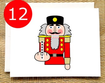 SALE Funny Christmas Card Set Funny Holiday Card Set Nutcracker Flipping the Bird Funny Christmas Card Pack Inappropriate Holiday Cards