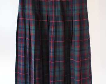 SALE 80s Vintage Checked Green Blue Mid-Length Skirt