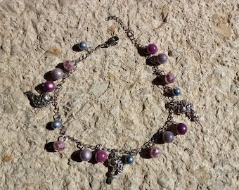 fish and lilac beads charms chain bracelet / purple