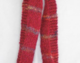 """Red scarf, with stripes, handknit 60"""" X 5 1/2 """""""