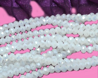 100 faceted beads 3mm white glass Pearl AB