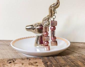 Asymmetrical Pink Pearl Earrings, Fish Hook Earrings, Dangle and Drop Earrings, Bead Earrings, Pearl Earrings, Bead Jewelry
