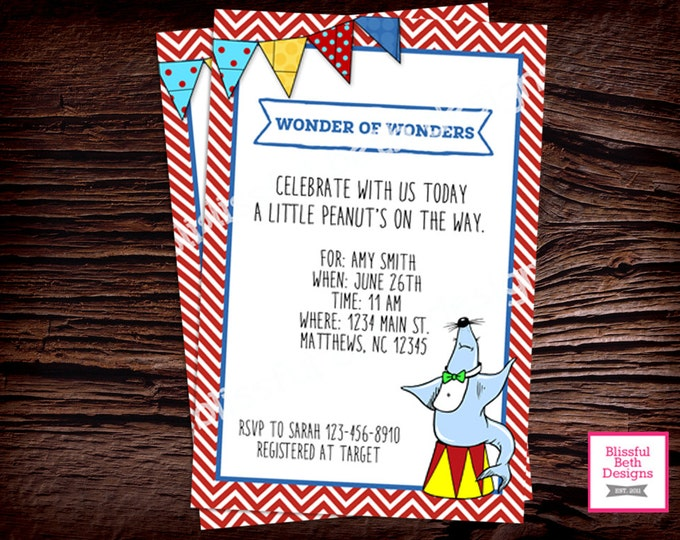CIRCUS BABY SHOWER Personalized Circus Baby Shower Printable Invitation, Baby Shower Invitation, Circus Baby, Circus Invitation