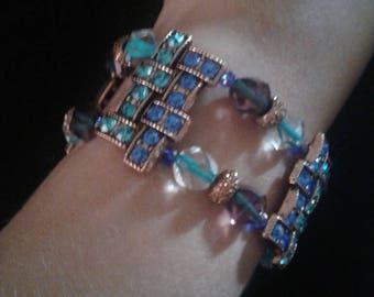 Blue and aqua antique gold slider bracelet