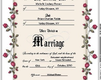 Keepsake Marriage Certificate Personalized or Blank
