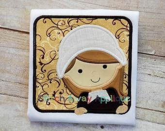 Thanksgiving Pilgrim Girl Peeking Box Machine Embroidery Applique Design