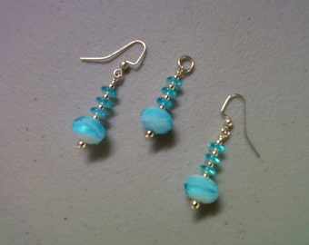 Light Blue and White Pendant and Earrings (0229)