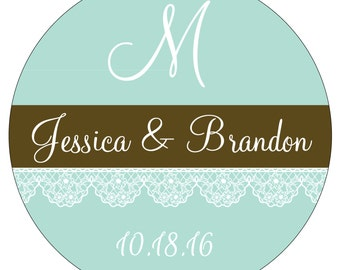 80 - 2 inch Custom Glossy Waterproof Wedding Stickers Labels - many designs to choose from - change designs to any color or wording WR-081