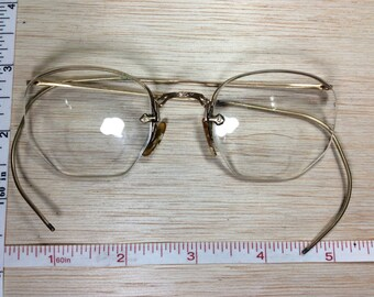Vintage Old Wire Glasses Bifocals In Case Used