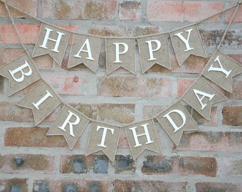 Burlap Happy Birthday Banner, Birthday Bunting, Birthday Garland, Birthday Garland, Birthday Banner, Burlap Bunting, Happy Burlap