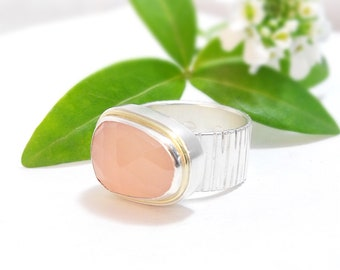 Handmade Cocktail Ring, Statement Ring, Chunky Ring, Pink Chalcedony Ring in Sterling Silver and 18k Gold, La Vie En Rose