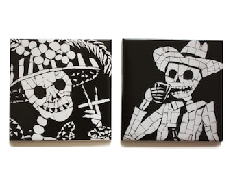 Set of Coasters  - Day of the Dead - Dia De Los Muertos - Black and White His and Her Set