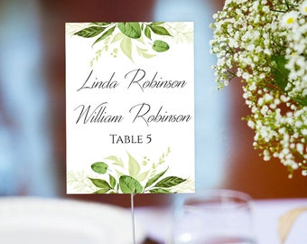 Flat Wedding place card template Fully editable greenery place cards printable PDF Instant download