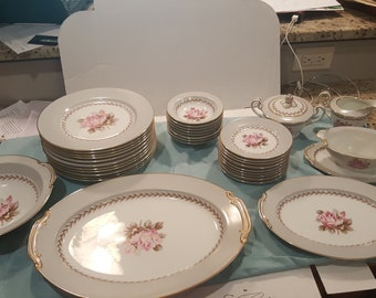 Vintage Noritake China Set in the Rosemont Pattern - Lot of 36