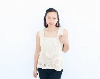 Women's short sleeve top, Womens crochet shirt, Summer top, Ladies tank top, Cotton top,  - The Kimiko -  Cream cotton top