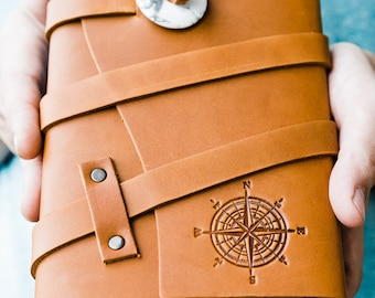 50% OFF ... Refillable Leather Compass Journal...Personalized Gift for Men teens Leather Notebook ... Made in Portland, Oregon.. Sale Today!