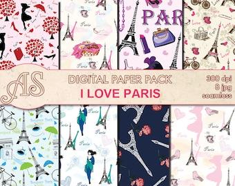 Digital I love Paris Paper Pack, 8 printable Digital Scrapbooking seamless papers, Valentines Digital Collage, Instant Download, set 150