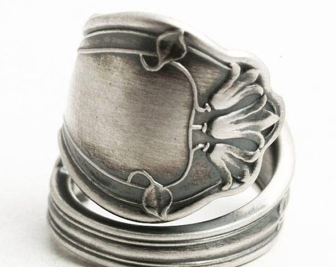 Bluebell Flower Ring, Blue Bell Ring, Sterling Silver Spoon Ring, Antique Gorham ca 1904 Portland, Floral Ring, Adjustable Ring Size (6503)