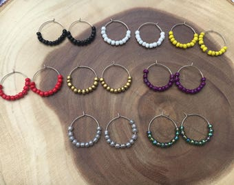 Seed Bead Earrings, Beaded Hoop Earrings, Jewelry, Earrings, Birthday Gift, Gift for Women, Handmade, Drop Earrings, Bridesmaid Earring