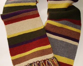 Acrylic Doctor Who Season 16-17 Scarf Hand Knit Garter Stitch Fourth Doctor Type Scarf from Ashlee's Knits Cosplay Made2Order