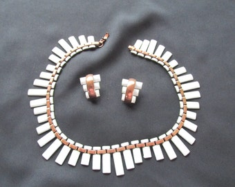 Vintage Matisse necklace and earrings, white enamel modernist copper jewelry set, vintage copper jewelry, ConMisManosVintage