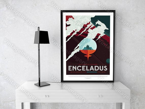 ENCELADUS ExoPlanet 2016 NASA/JPL Space Travel Poster Space Art Great Gift idea for Kids Room, Office, man cave, Wall Art Home Decor Prints