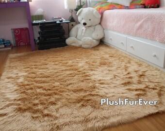 8u0027 X 10u0027 Camel Shaggy Fur Faux Fur Rug Rectangle Shape Contemporary Flokati  Plush