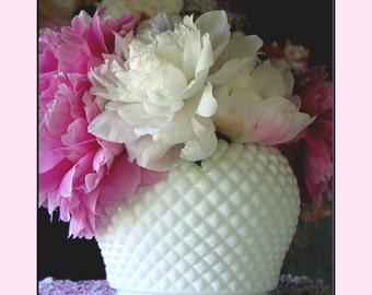 Milk Glass Centerpiece / Vintage Westmoreland English Hobnail Rose Bowl / Milk Glass Wedding Decor