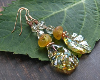 Flight of Icarus -  mythical gold green lampwork wing, amber and citrine  earrings