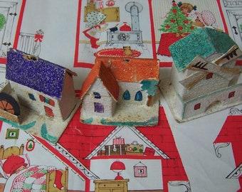 vintage putz cardboard village houses