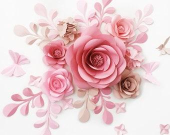 Wedding Reception Backdrop - Paper Flower Backdrop - Paper Flower Reception Decor - Paper Flower Wall Wedding Reception (code:#129)