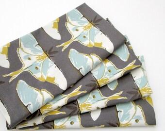 Cloth Napkins - Set of 4 - Blue Gold Gray Luna Moth  - Wedding, Dinner, Table, Everyday