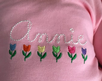 Embroidered Tulips with Vintage Hand writing Name