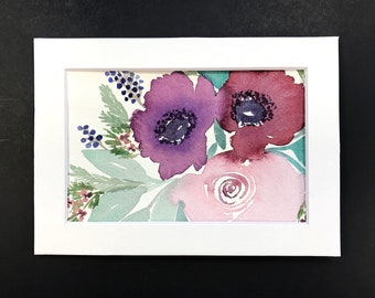 Watercolor Floral Original 4x6