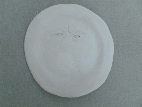 Decorative Porcelain Plate, Angry Plate // Ceramic Art // Human // Figurine // White // Decor // Plant Potters // Surrealism