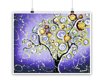 Ultra Violet Tree Print, Whimsical Tree of Life Wall Art Print, Purple Tree Wall Decor, Abstract Landscape Home Decor, Signed Giclee Print