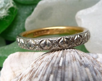 """COUPON SALE!!! Stunning Antique Art Deco 22K White and Yellow Gold Wedding Stacking Band Engraved """"Lux de mi Alma"""" or """"Light of my Soul"""""""