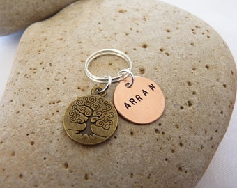 Hand Stamped Personalised Copper Tree of Life Keyring Scottish