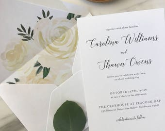 Elegant Calligraphy Wedding Invitation Sample / Letterpress or Digital Printing / Neutral Wedding / #1129