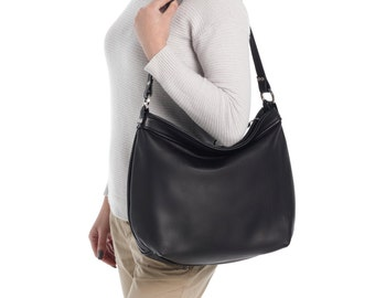 Black leather hobo bag - Cross body hobo bag - Women laptop purse - LARGE HELEN