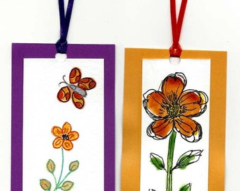 Two Handpainted Watercolor Book Marks / Pen and Ink Drawing / Floral Design