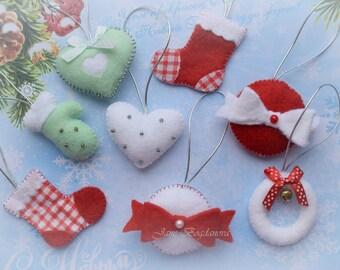 SALE! SET of 8 Christmas ornaments, Christmas gift, Felt Winter Ornaments