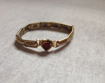 Vintage Small/Youth Goldtone Stretch Bracelet With Red Heart Accent