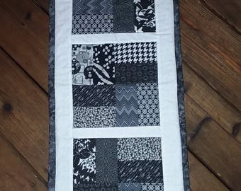 Black and white table runner, table topper, quilted table runner, candle mat, patchwork table runner, quilted table decor, kitchen decor