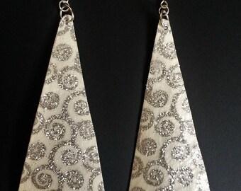 geometric earrings, triangle earrings, art deco earrings, dangle earrings