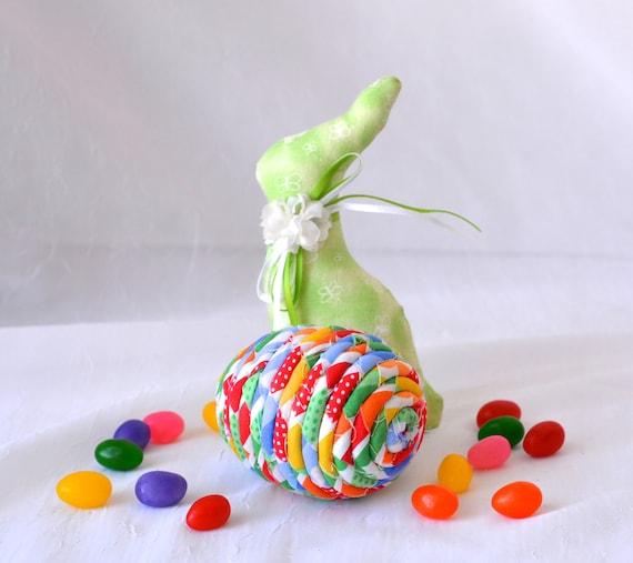 Easter Basket Filler, Rainbow Egg Ornament, Handmade Easter Egg Decoration, Bowl Filler, Hand Coiled Fiber Easter Egg